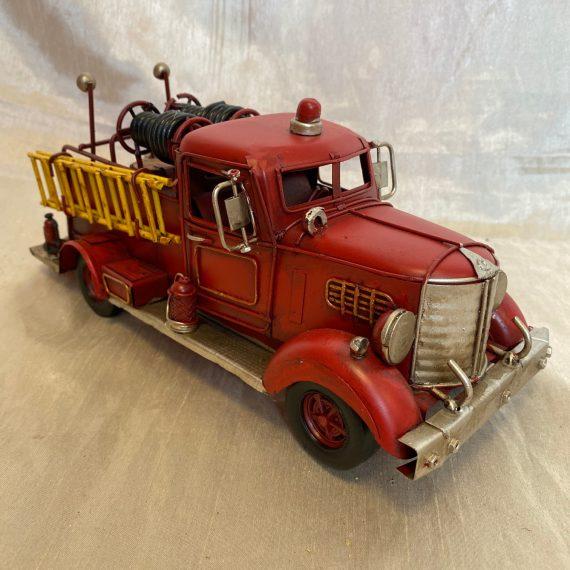 Antik hatású fém tűzoltó autó dekoráció