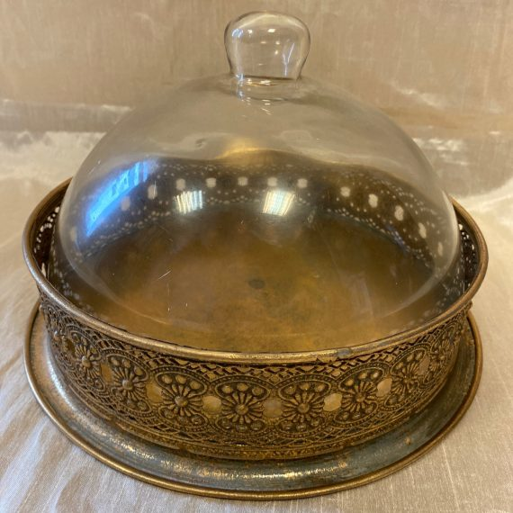 Antikolt fém tálaló üveg búrával