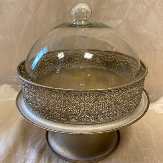 Antikolt fém tálaló állvány üveg búrával