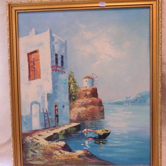 Mediterrán tengerpart, festmény